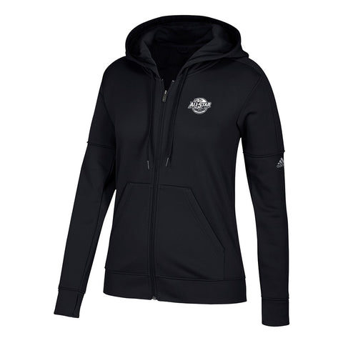 2018 NHL All Star Game NHL Adidas Women's Event Logo Black Full-Zip Hoodie
