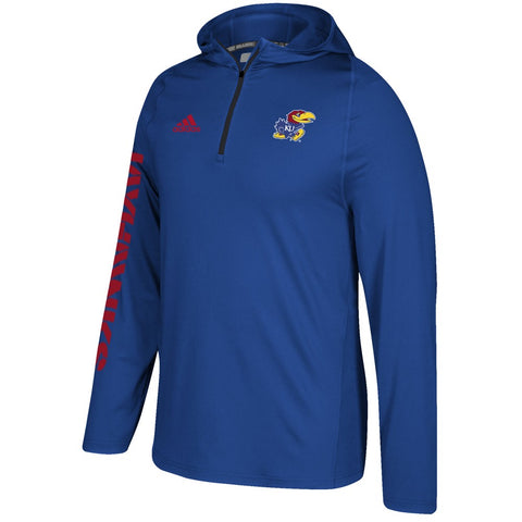 Kansas Jayhawks Adidas NCAA Men's Blue Sideline 1/4 Zip Training Hoodie