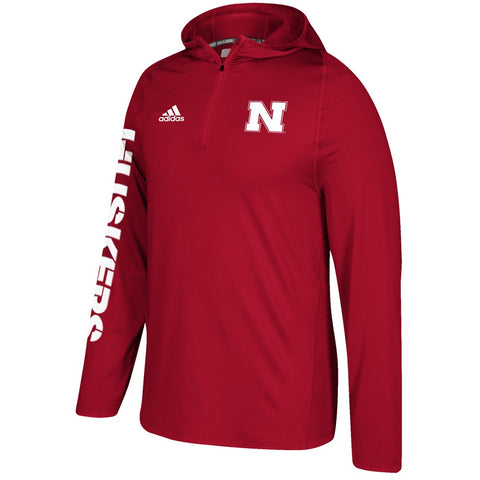 Nebraska Cornhuskers Adidas NCAA Men's Red Sideline 1/4 Zip Training Hoodie