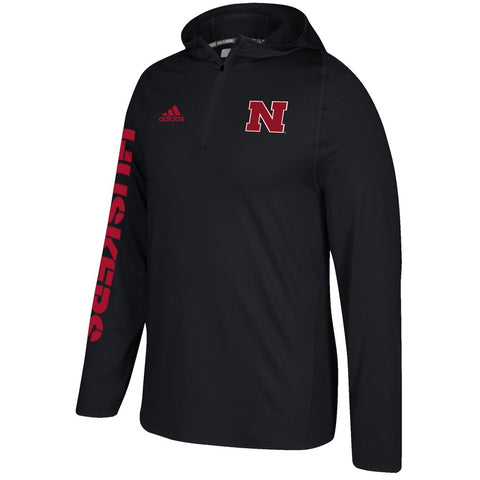 Nebraska Cornhuskers Adidas NCAA Men's Black Sideline 1/4 Zip Training Hoodie
