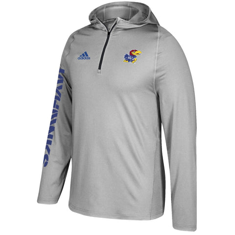 Kansas Jayhawks Adidas NCAA Men's Grey Sideline 1/4 Zip Training Hoodie