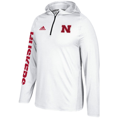 Nebraska Cornhuskers Adidas NCAA Men's White Sideline 1/4 Zip Training Hoodie