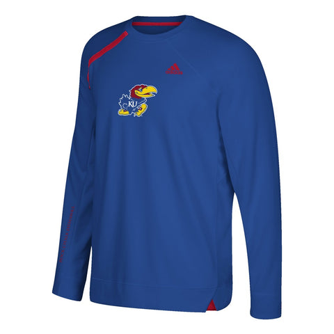 Kansas Jayhawks Adidas NCAA Men's Blue Authentic On-Court Shooter Shirt (2XL)