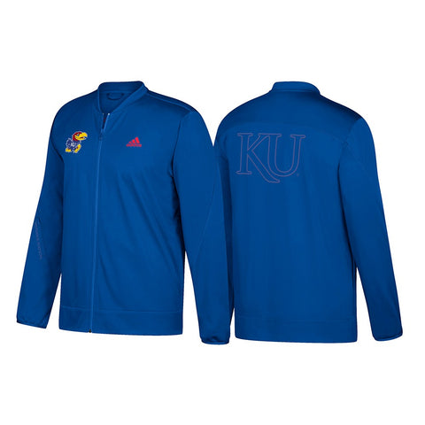 Kansas Jayhawks Adidas NCAA Men's Blue Full-Zip Team Warmup  Jacket