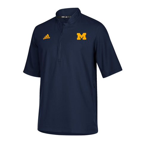 Michigan Wolverines NCAA Adidas Men's 2018 Sideline Navy Blue S/S Woven Knit