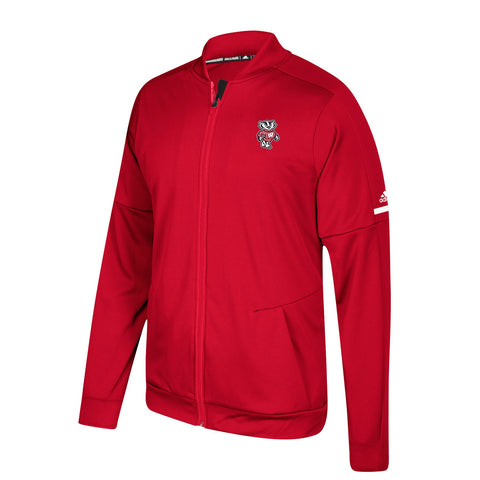 Wisconsin Badgers NCAA Adidas Men's Authentic Red Game Built Warm Up Jacket
