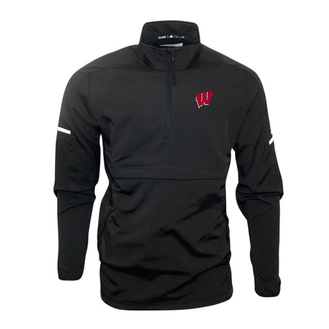 Wisconsin Badgers NCAA Adidas Men's Climalite Black Game Built  Woven Jacket