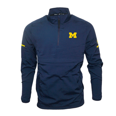 Michigan Wolverines NCAA Adidas Men's Navy Blue Game Built 1/4 Zip  Woven Jacket