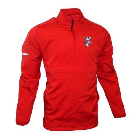 Wisconsin Badgers NCAA Adidas Men's Red Game Built 1/4 Zip  Woven Jacket