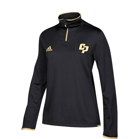 Cal Poly Mustangs NCAA Adidas Women's  Black 1/4 Zip Team Iconic Knit