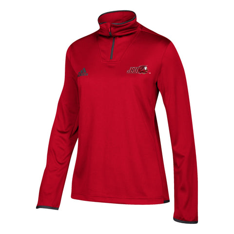 Jacksonville State Gamecocks NCAA Adidas Women's  Red 1/4 Zip Team Iconic Knit