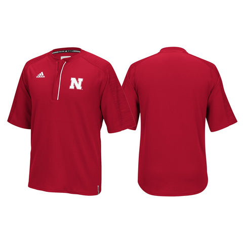 Nebraska Cornhuskers Adidas NCAA Men's Red Sideline Climalite 1/4 Zip Knit Shirt
