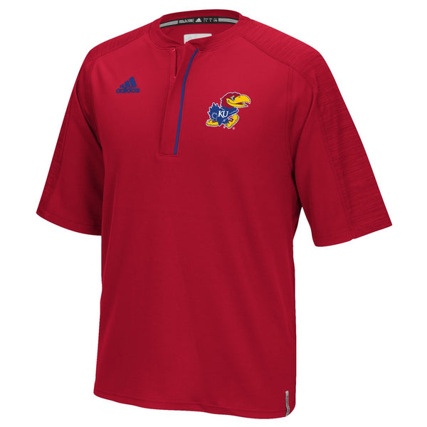 Kansas Jayhawks Adidas NCAA Men's Red Sideline Climalite 1/4 Zip Knit Shirt