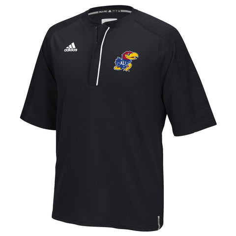 Kansas Jayhawks Adidas NCAA Men's Black Sideline Climalite 1/4 Zip Knit Shirt