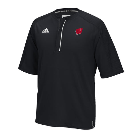 Wisconsin Badgers NCAA Adidas Men's Modern Varsity Black Sideline Knit Shirt