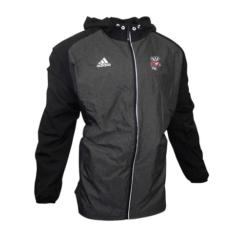 Wisconsin Badgers NCAA Adidas Men's Black Full-Zip Modern Varsity Woven Jacket
