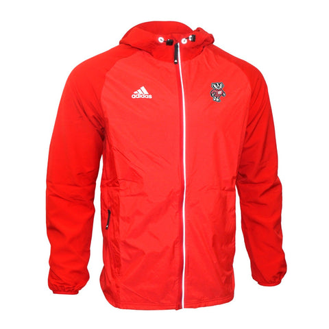 Wisconsin Badgers NCAA Adidas Men's Red Full-Zip Modern Varsity Woven Jacket