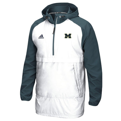 Michigan Wolverines NCAA Adidas Men's Primary  White Pullover Anorak Jacket