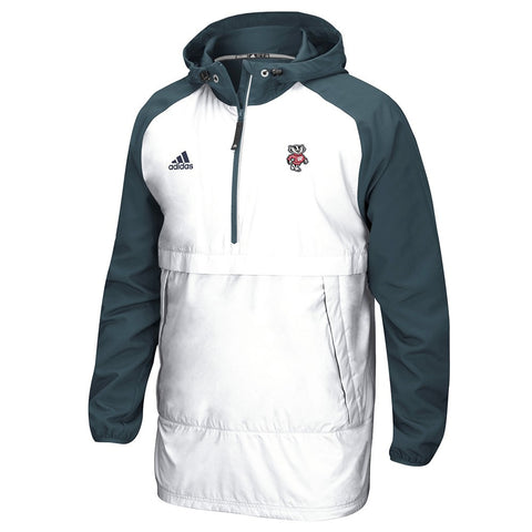 Wisconsin Badgers NCAA Adidas Men's Primary  White Pullover Anorak Jacket