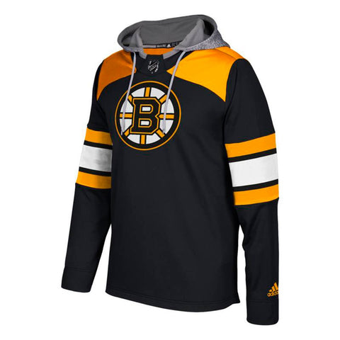 Boston Bruins NHL Adidas Men's Black Team Platinum Jersey Pullover Hoodie