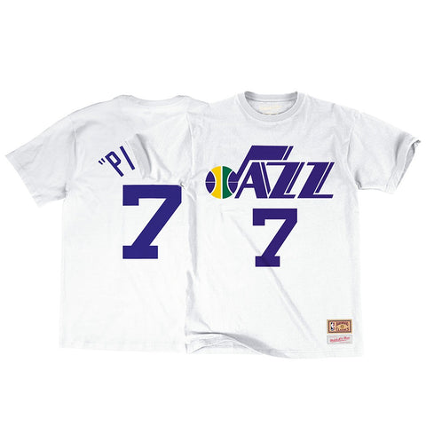 Pete Maravich NBA Utah Jazz Men's Mitchell & Ness White N&N Jersey T-Shirt