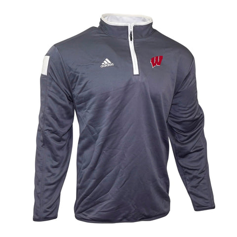 Wisconsin Badgers NCAA Adidas Men's 2014 Sideline Onix Grey Coaches Knit