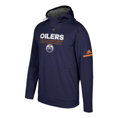 Edmonton Oilers NHL Adidas Men's Navy Blue Center Ice  Authentic Hoodie