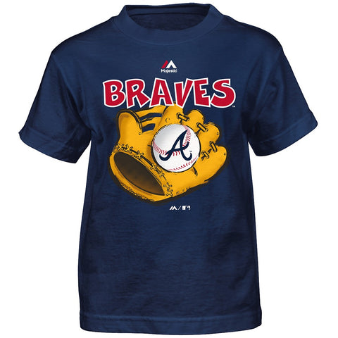 "Atlanta Braves Majestic MLB Boys Navy Blue ""Boy Baseball Mitt"" T-Shirt"