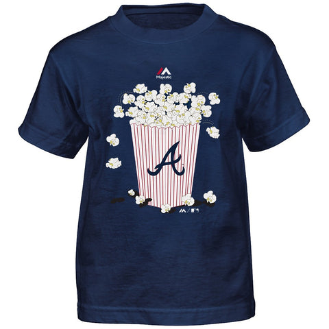 "Atlanta Braves MLB Majestic Boys Navy Blue ""Baseball Popcorn"" Graphic T-Shirt"