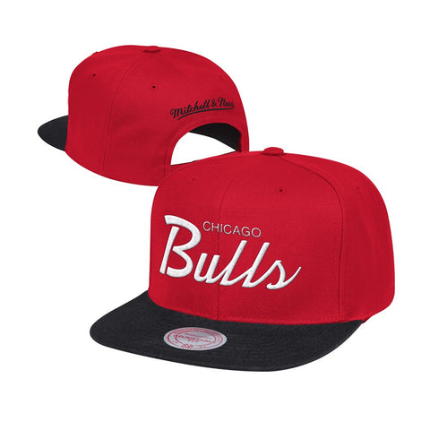 Chicago Bulls Mitchell & Ness Classic Script (Red/Black) Snapback Hat Cap