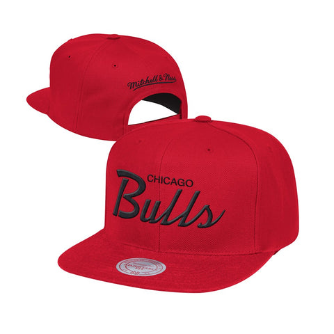 Chicago Bulls Mitchell & Ness Classic Script (Red) Snapback Hat Cap