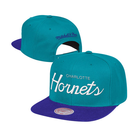 Charlotte Hornets Mitchell & Ness Classic Script (Teal/Purple) Snapback Hat Cap