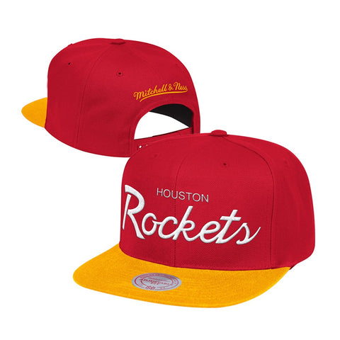 Houston Rockets Mitchell & Ness Classic Script (Red/Yellow) Snapback Hat Cap