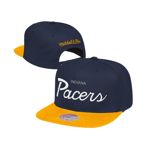 Indiana Pacers Mitchell & Ness Classic Script (Navy Blue/Gold) Snapback Hat Cap