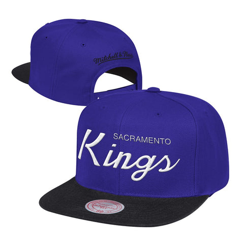 Sacramento Kings Mitchell & Ness Classic Script (Purple/Black) Snapback Hat Cap