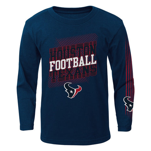 "Houston Texans Outerstuff NFL Boys Navy Blue ""Frequency"" Long Sleeve T-Shirt"