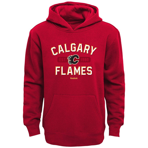 "Calgary Flames Reebok NHL ""Todays Highlights"" Navy Pullover Hoodie Boys (4-7)"