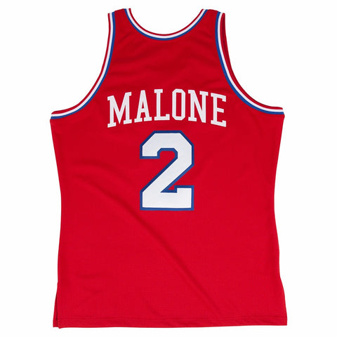 1982-83 Moses Malone Philadelphia 76ers M&N Red Authentic Jersey Men's