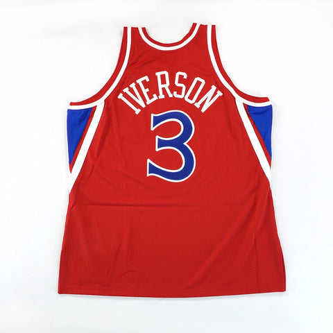 1996-97 Allen Iverson Philadelphia 76ers Mitchell & Ness Authentic Red Jersey