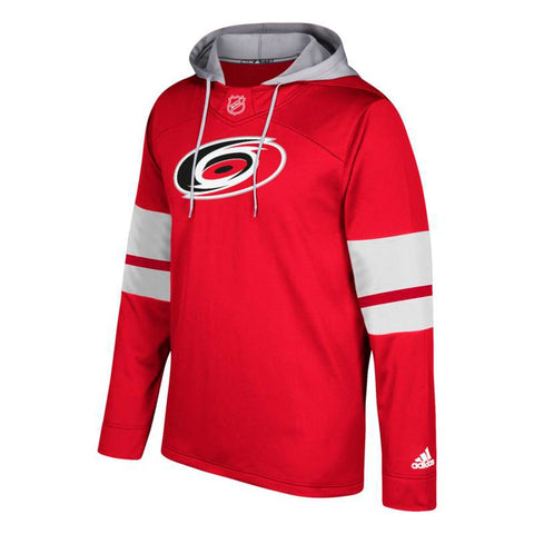 Carolina Hurricanes NHL Adidas Men's Red Team Crest Silver Jersey Hoodie