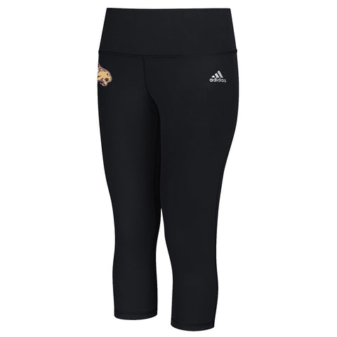 Texas State Bobcats NCAA Adidas Women's Black Performer Mid Rise 3/4 Tights