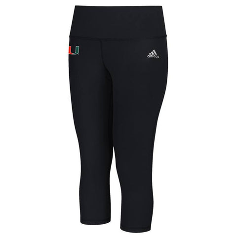 Miami Hurricanes NCAA Adidas Women's Black Performer Mid Rise 3/4 Tights