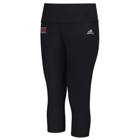 Miami RedHawks NCAA Adidas Women's Black Performer Mid Rise 3/4 Tights