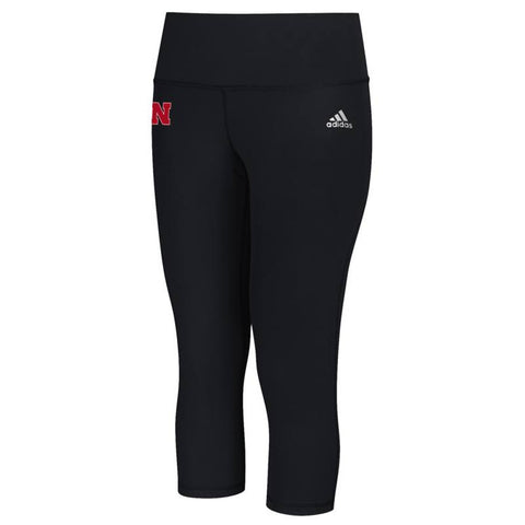 Nebraska Cornhuskers NCAA Adidas Women's Black Performer Mid Rise 3/4 Tights
