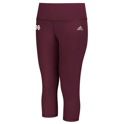 Mississippi State Bulldogs NCAA Women's Maroon Performer Mid Rise 3/4 Tights