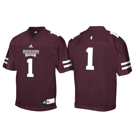 Mississippi State Bulldogs Adidas NCAA Maroon #1 Home Official Football Jersey