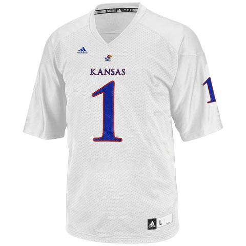 Kansas Jayhawks Adidas NCAA Official #1 Away White Football Replica Jersey Men's