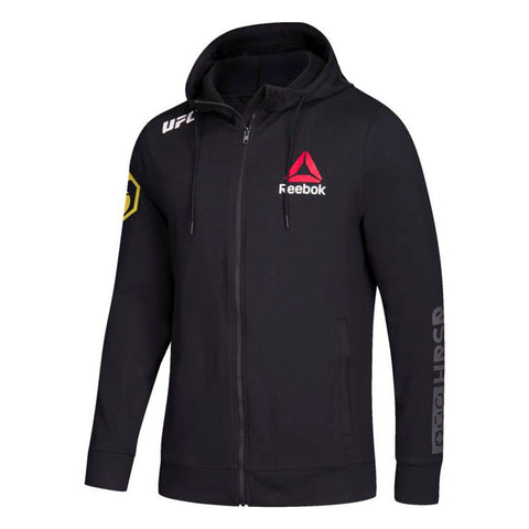Anderson Silva Official UFC Reebok Black Full Zip Fight Night Walkout Hoodie