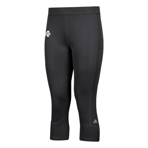 Mississippi State Bulldogs NCAA Adidas Women's Black Techfit Solid 3/4 Tights