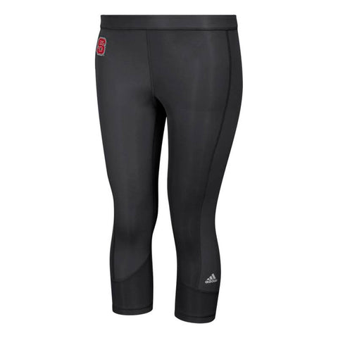 NC State Wolfpack NCAA Adidas Women's Black Techfit Solid 3/4 Tights